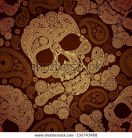 golden pattern with skull and
