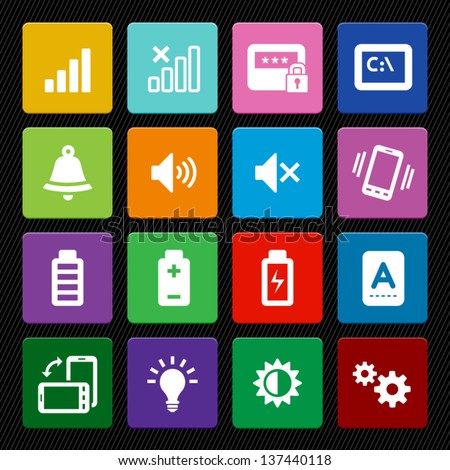mobile phone icons  colorful