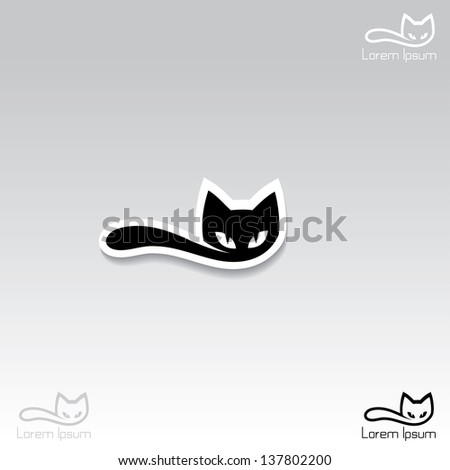 cat label   vector illustration