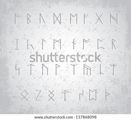 old runes on stone table