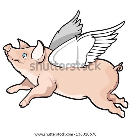vector illustration of flying