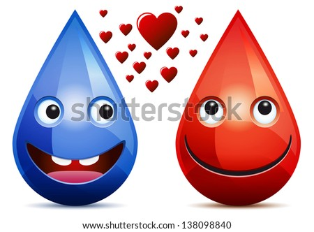 water drop and drop of blood