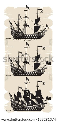 pirate ship silhouette with