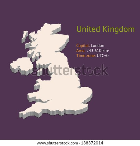 3d map of the uk isolated on