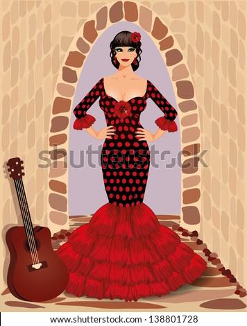 spanish flamenco girl with