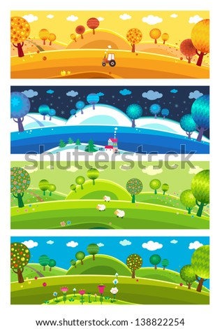 four seasons  winter  spring