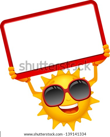 vector happy sun cartoon with