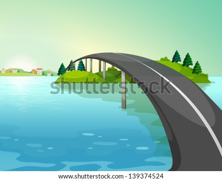illustration of a long road