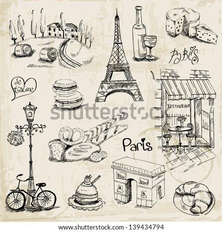paris illustration set   for