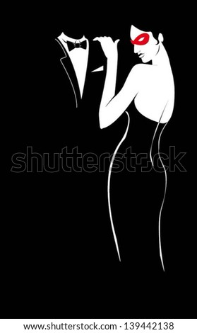 lady in red mask black and