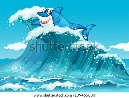 illustration of a shark above