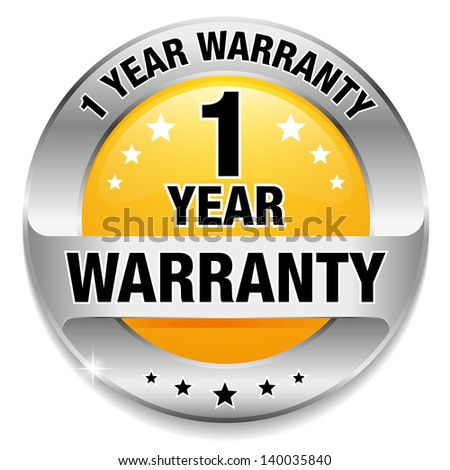 yellow 1 year warranty button
