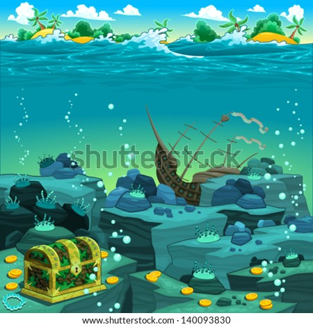 seascape with treasure and