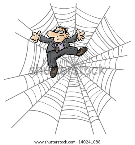 man in spider web cartoon