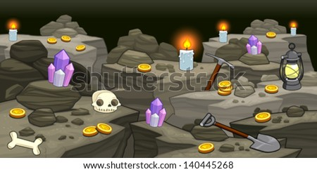 mine with objects cartoon and