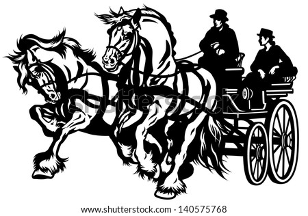 Horse Drawn Carriage Clipart Two Horses Drawn Carriage