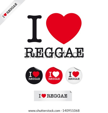 i love reggae  font type with