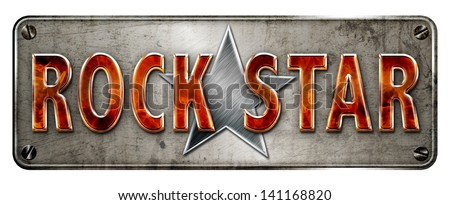 flame text 'rock star' banner