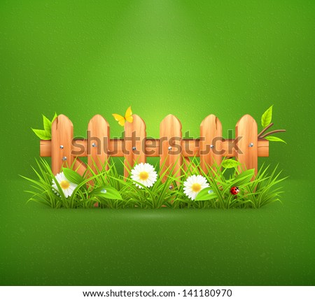 spring grass and wooden fence