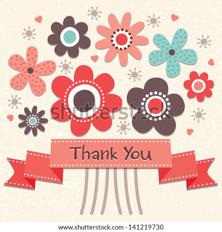 thank you card with vintage