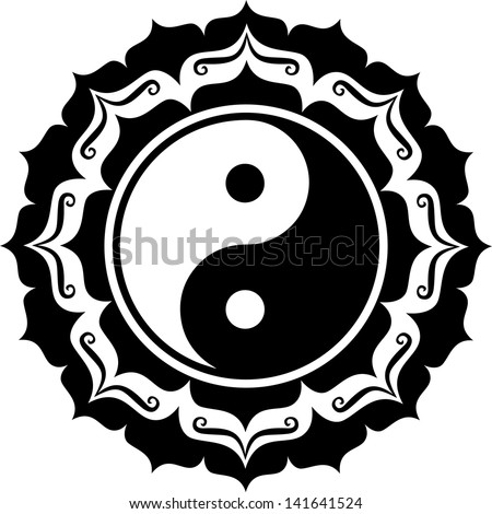 yin yang lotus  chinese symbol