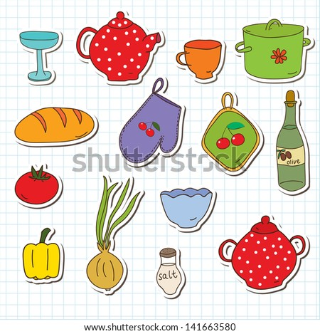 kitchen tools vector sticker set