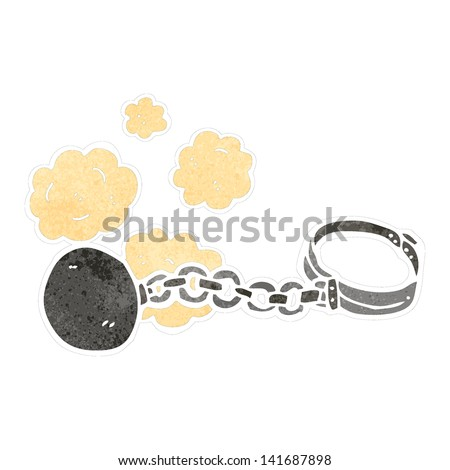 retro cartoon ball and chain