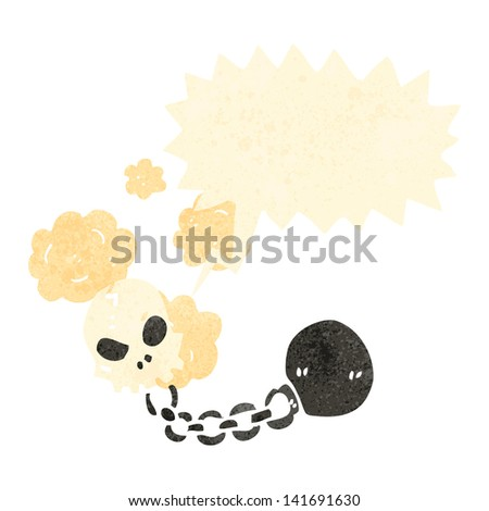 retro cartoon skull ball and