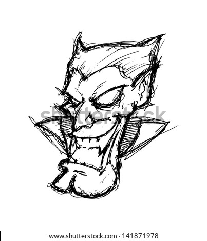 vampire head doodle isolated on