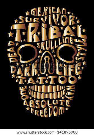 tattoo tribal golden slogan