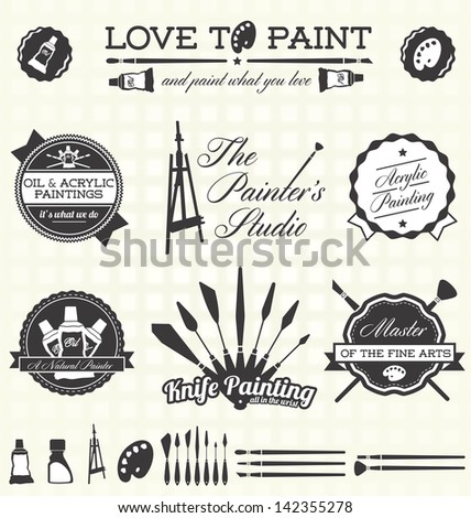 vector set  retro painter labels