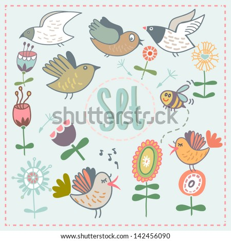 vector set with cartoon flowers