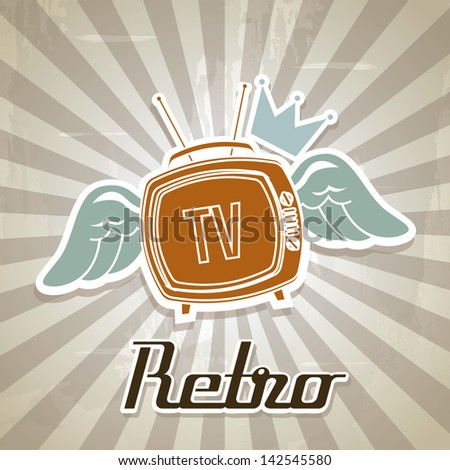 tv retro over grunge background