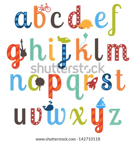 cute boy themed alphabet vector