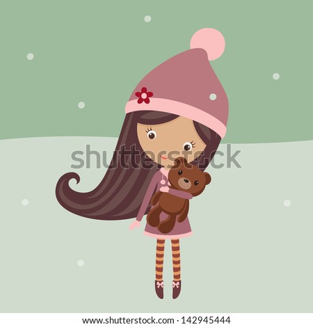 cute girl in a winter outfit
