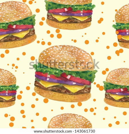tasty big burger pattern vector