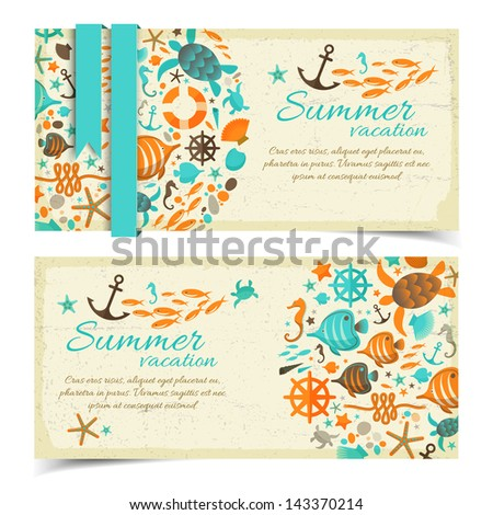 summer banners set vector