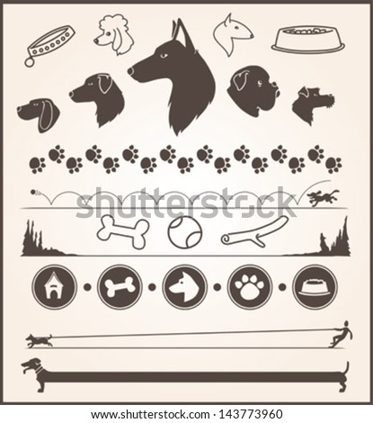set of various dog themed