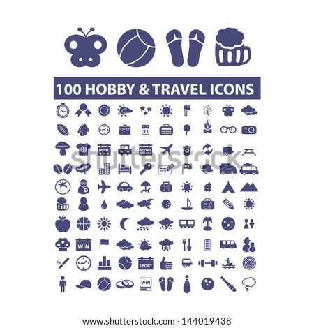 100 hobby   travel icons  signs