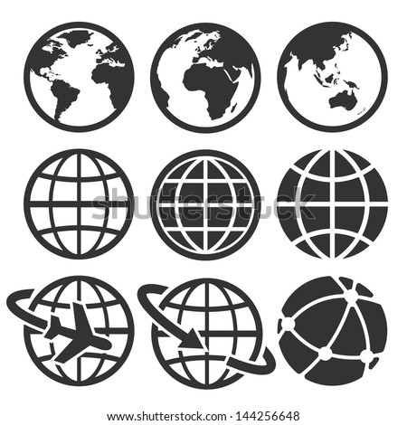 earth vector icons set