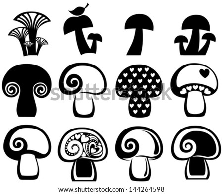 set of  mushrooms icon isolated