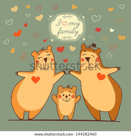 family bears with the flying