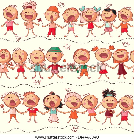 happy kids choir singing