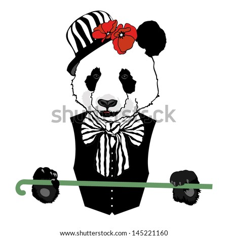 vector animal  panda in bowler