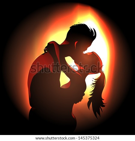 passionate young couple kissing