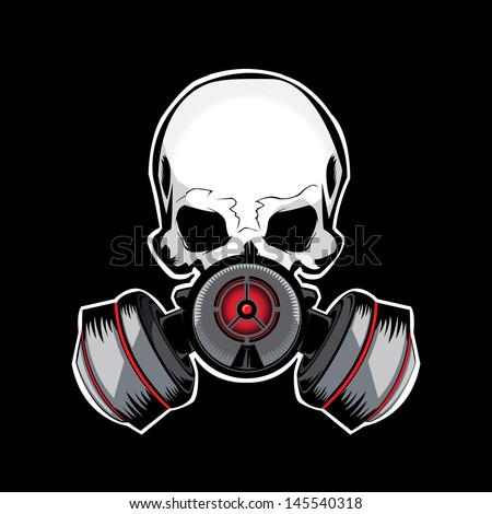 skull gas mask illustration
