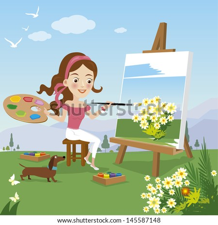 woman paint on canvas