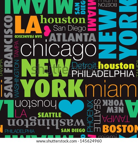 seamless usa city typography