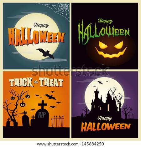 happy halloween card set of