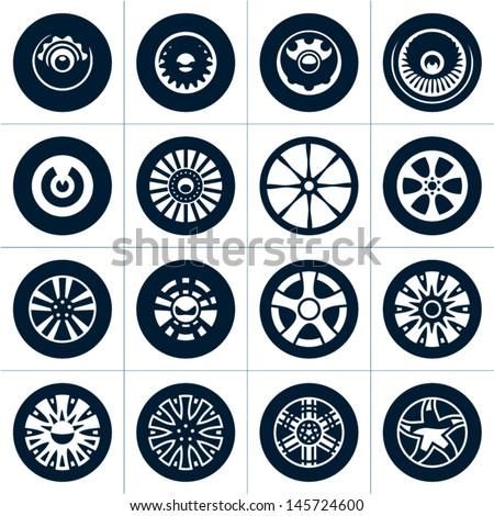 wheels rims vector collection